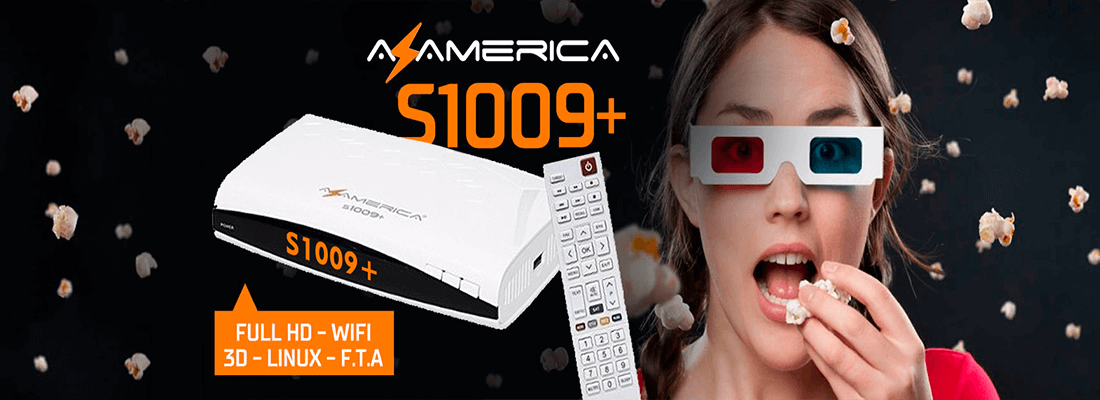 Rainhadoaz - Receptor FTA Azamerica S1009 Plus 4K ACM H265 Full HD 1080p