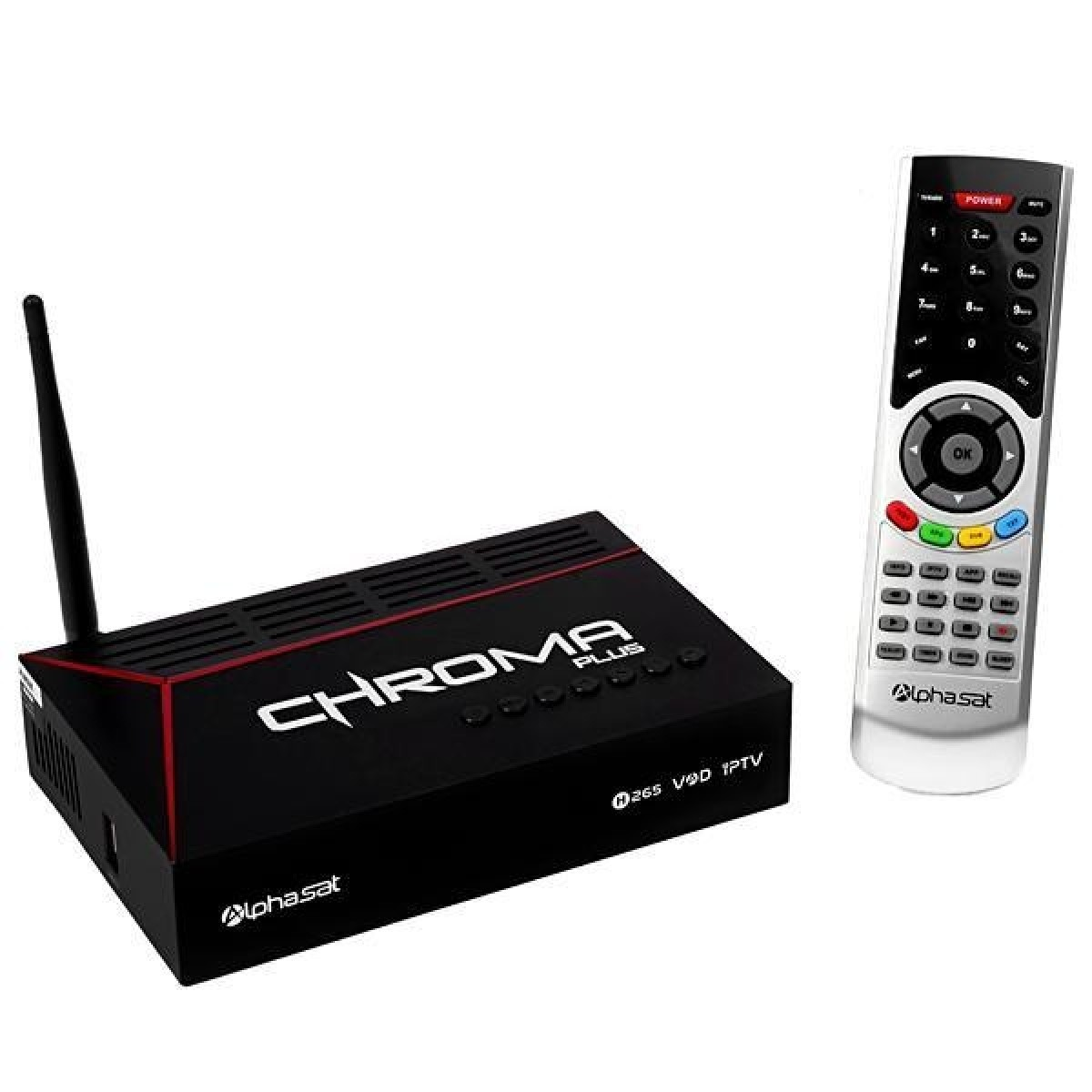 Receptor Alphasat Chroma Plus Full HD com Wi-Fi/USB/HDMI/Iptv Bivolt